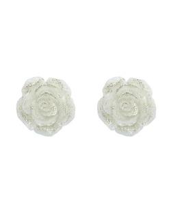 Brinco pequeno de acrílico branco gelo Roses