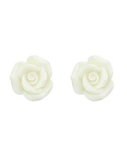 Brinco pequeno de acrílico branco Roses