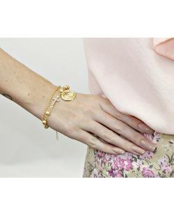 Kit 2 pulseiras de metal dourado Lempira