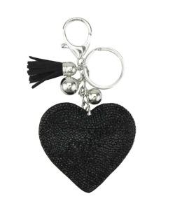 Chaveiro de courino preto com strass Coração