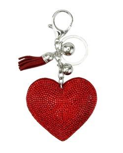 Chaveiro de courino vermelho com strass Coração