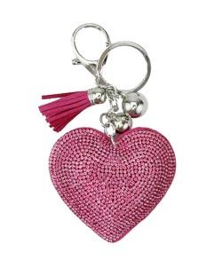 Chaveiro de courino rosa pink com strass Coração