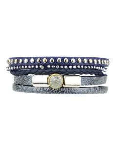 Pulseira de courino dourada com azul e pedra cristal Goohnan