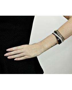 Pulseira de courino preta e dourada com strass cristal Rosana