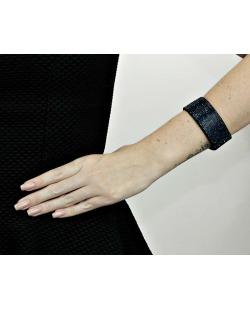 Pulseira de courino preta com strass azul escuro Scherein
