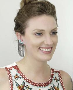 Ear cuff de metal grafite com pedra turquesa Paula