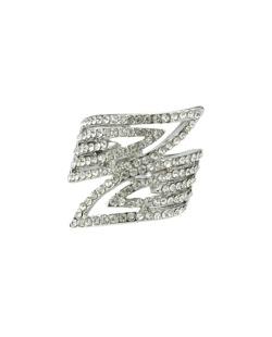Anel de metal prateado com strass cristal Star