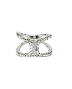 Anel de metal prateado com strass e pedra cristal Valeria