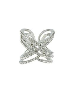 Anel de metal prateado com strass cristal Lupita