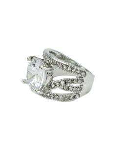 Anel de metal prateado com strass e pedra cristal Mirella