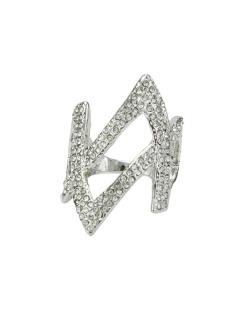 Anel de metal prateado com strass cristal Huuhan