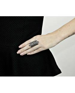 Anel de metal prateado com strass grafite Julian