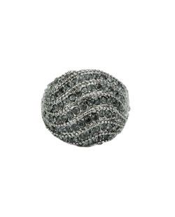 Anel de metal grafite com strass fumê Mercedes