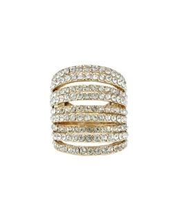 Anel de metal dourado com strass cristal Miriam