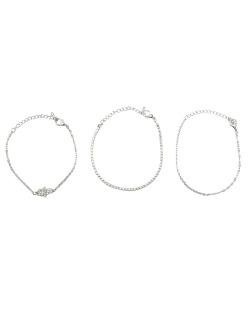 Kit 3 pulseiras prateado mão de Fátima com strass cristal Fátima
