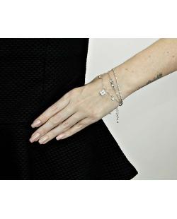 Kit 3 pulseiras prateado laço com pedra cristal e flor com strass cristal Osaka