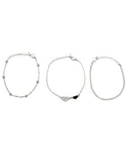 Kit 3 pulseiras prateado coração com strass cristal Chiba