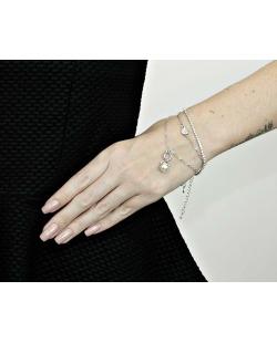 Kit 3 pulseiras prateado com perola e coração com strass cristal Nara