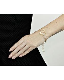 Kit 3 pulseiras dourada com coração e mão de Fátima e strass cristal Oizumi