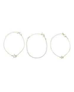 Kit 3 pulseiras dourada com estrelas e strass cristal Otsu