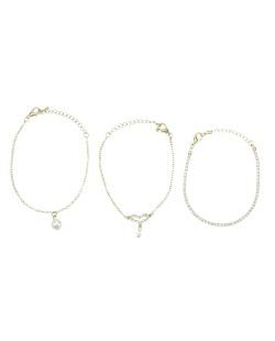 Kit 3 pulseiras dourado perola e coração com strass cristal Beppu