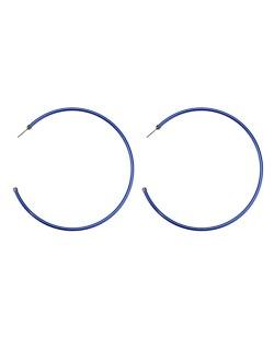 Maxi brinco de metal argola azul Fujisawa
