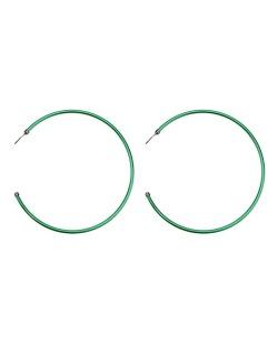Maxi brinco de metal argola verde Fujisawa