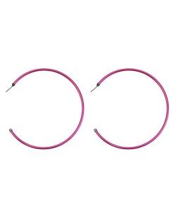 Maxi brinco de metal argola rosa Fujisawa