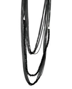Maxi colar de metal preto com miçangas preto Malco