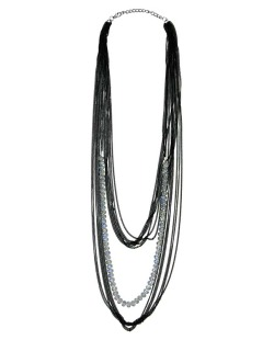 Maxi colar de metal preto com miçangas furta-cor Malco