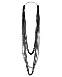 Maxi colar de metal preto com miçangas brilhantes Malco