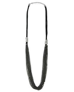 Maxi colar de metal preto e grafite com strass cristal Nejapa