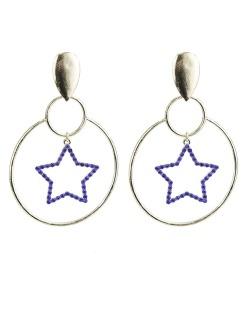 Maxi brinco de metal dourado com strass azul Starry