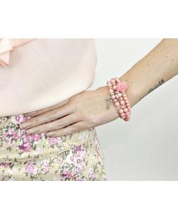 Kit 3 pulseiras de acrílico rosa Iloba