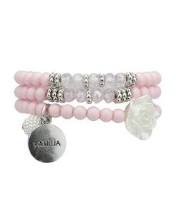 Kit 3 pulseiras de acrílico pink Iloba