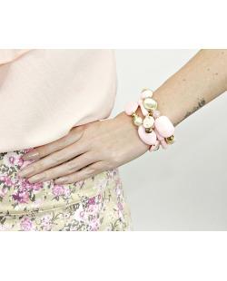Kit 3 pulseiras de acrílico rosa Mejicanos