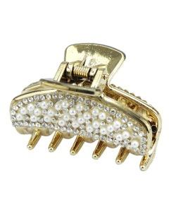 Presilha de acrílico dourado com mini pérolas Guera