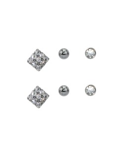 Kit 3 pares de brinco grafite com pedra cristal Sevilha