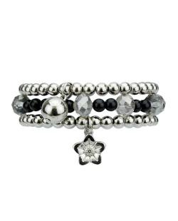 Kit 3 pulseiras de acrílico prateado e preto Nango