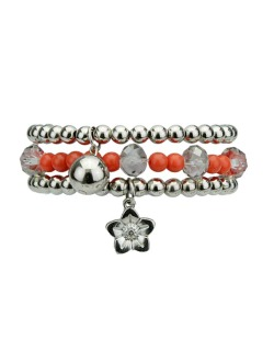 Kit 3 pulseiras de acrílico prateado e laranja Nango