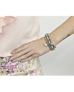 Kit 3 pulseiras de acrílico prateado e verde Nango