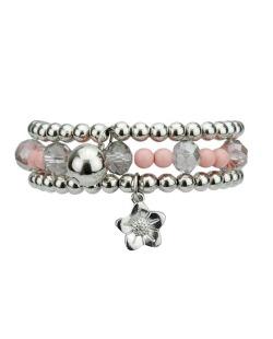 Kit 3 pulseiras de acrílico prateado e rosa Nango