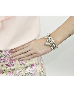 Kit 4 pulseiras de acrílico prateado e branco Mazat