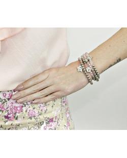 Kit 4 pulseiras de acrílico prateado e rosa claro Mazat