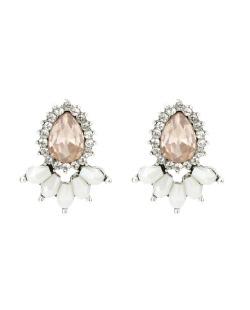 Brinco pequeno prateado com pedra rosa e strass cristal Amalfi