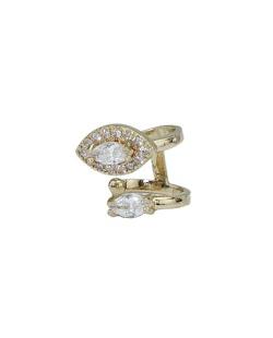 Piercing de pressão dourado com strass cristal Lanquín
