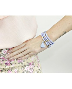 Kit 4 pulseiras de acrílico azul Perico