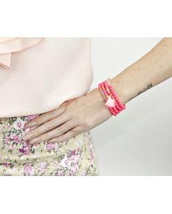 Kit 4 pulseiras de acrílico rosa Perico