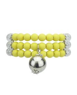 Kit 3 pulseiras de acrílico amarelo e prateado Champ