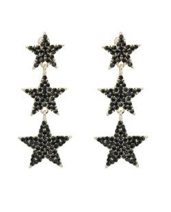 Maxi brinco de metal dourado com strass preto Tunas